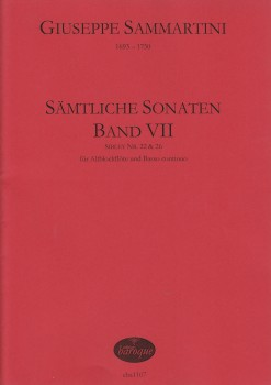 Sammartini, Giuseppe - Sämtliche Sonaten, Band VII - Altblockflöte und Basso continuo