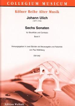 Ulich, Johann - Sechs Sonaten, Band II - Altblockflöte und Basso continuo