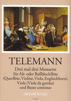 Telemann, Georg Philipp - Three times three menuets - treble or bass recorder, viola and Bc.