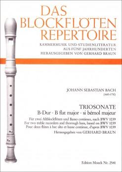 Bach, Johann Sebastian - Triosonate B-dur nach BWV1039 - 2 Altblockflöten und Bc.