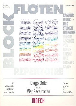 Ortiz, Diego - Vier Recercaden - Altblockflöte und Cembalo / Gitarre