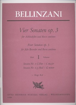 Bellinzani, Paolo Benedetto - Vier Sonaten op. 3  Band 1 - Altblockflöte und Basso continuo