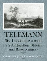 Telemann, Georg Philipp - 36. Trisonate a-moll  -  2 Altblockflöten und Bc.