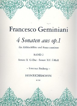 Geminiani, Francesco - Vier Sonaten op.1 Band 2 - Altblockflöte und Basso continuo