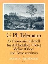 Telemann, Georg Philipp - 33. Triosonate d-moll  - Altblockflöte, Violine und Bc.