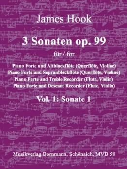 Hook, James - 3 Sonaten op. 99 Vol. 1 C-dur - Sopranblockflöte und Klavier