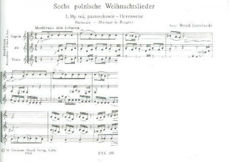 Polnische Weihnachtslieder Texte.Lutoslawski 6 Polnische Weihnachtslieder Blockflöten Noten Zfs259