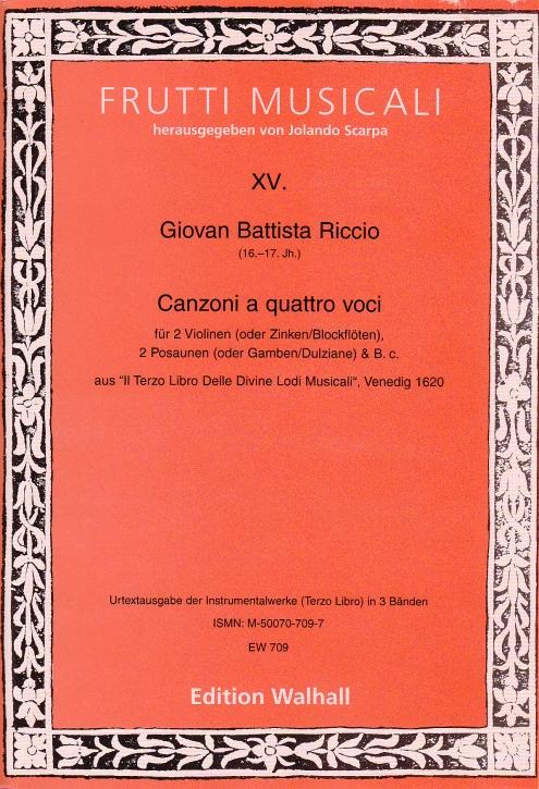 Riccio, Giovanni Battista - Canzoni a quattro vociI - 2 Sopranblockflöten,  2 Bassinstrumente und Bc.