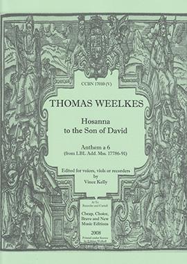 Weelkes, Thomas - Hosanna to the Son of David - Recorder Sixtet SSATBB