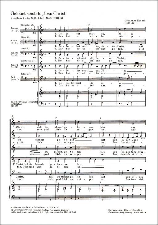 Eccard, Johannes - Gelobet seist du, Jesu Christ  - Recorcder Quintet SATTB
