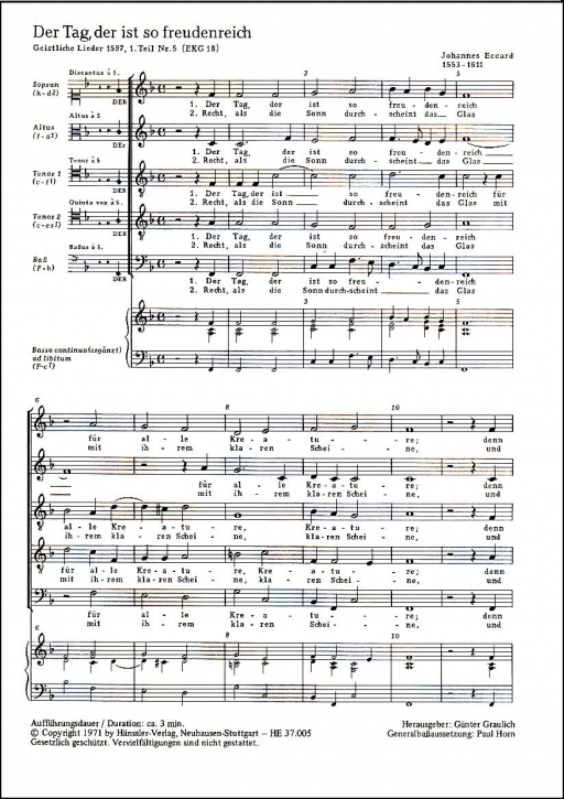 Eccard, Johannes - Der Tag, der ist so freudenreich  - Recorder Quintet SATTB