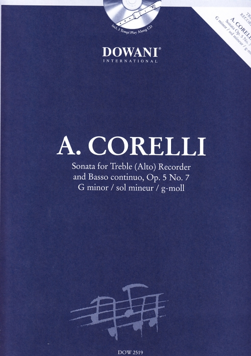 Corelli, Arcangelo - Sonate op. 5 Nr. 7 g-moll -  treble recorder + CD