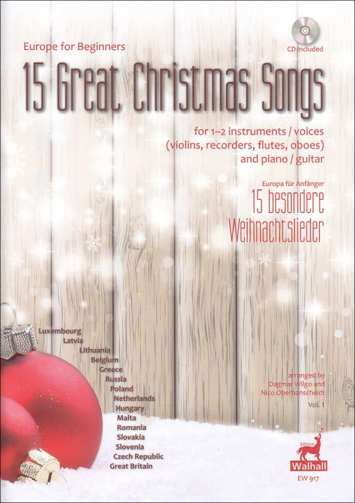 15 Great Christmas Songs Vol. 1 - Europe for Beginners - soprano recorder, guitar and CD