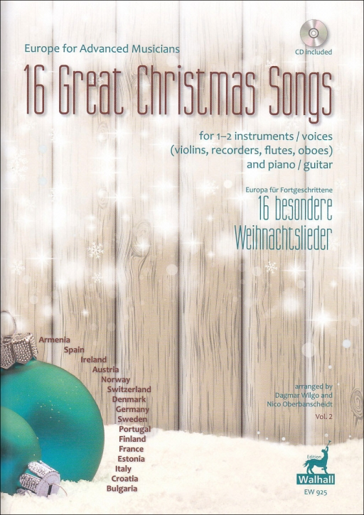 16 great christmas songs vol. 2- europe for advanced musicians - soprano recorder, guitar, piano and CD