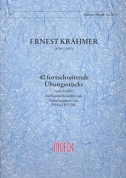 Krähmer, Ernest - 40 fortschreitende Übungsstücke - für Sopranblockflöte solo