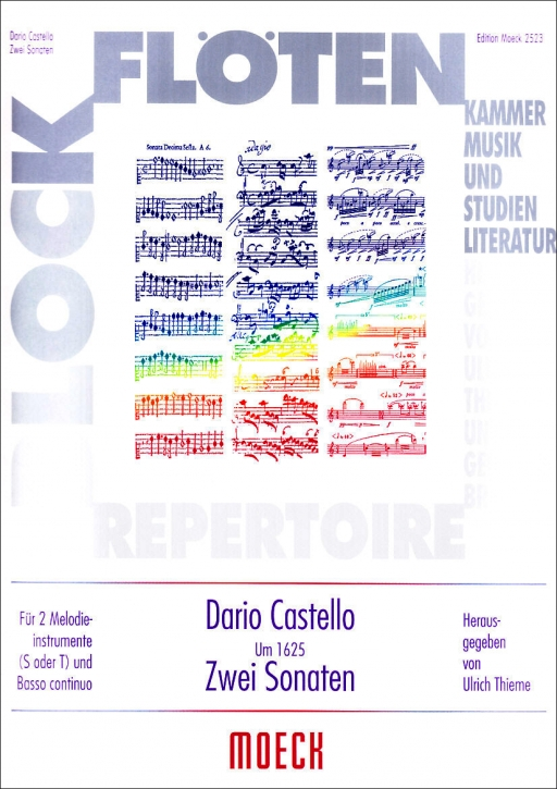 Castello, Dario - Zwei Sonaten - 2 Sopranblockflöten und Bc