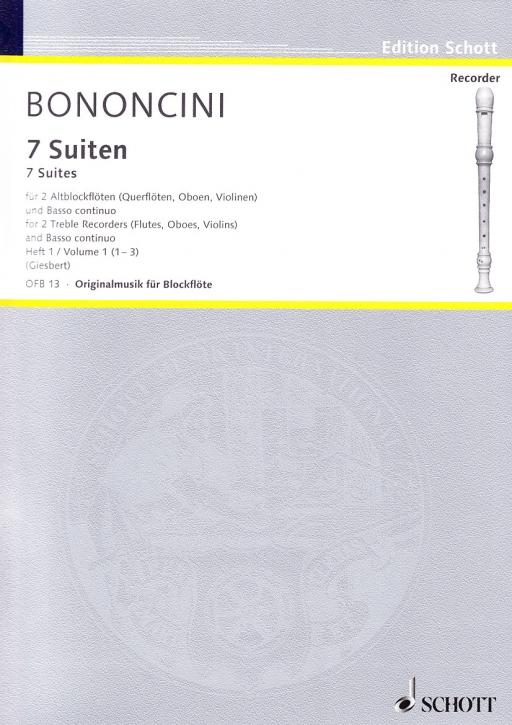 Bononcini, Giovanni Battista - Sieben Suiten Band 1 - 2 Altblockflöten und Bc.