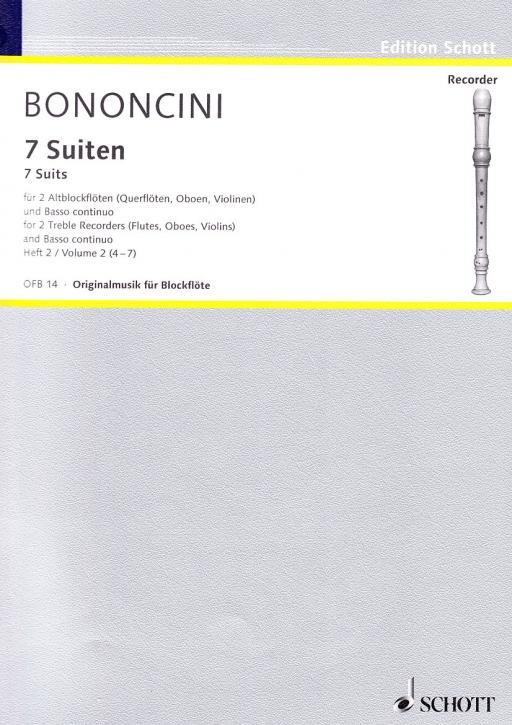 Bononcini, Giovanni Battista - Sieben Suiten Band 2 - 2 Altblockflöten und Bc.