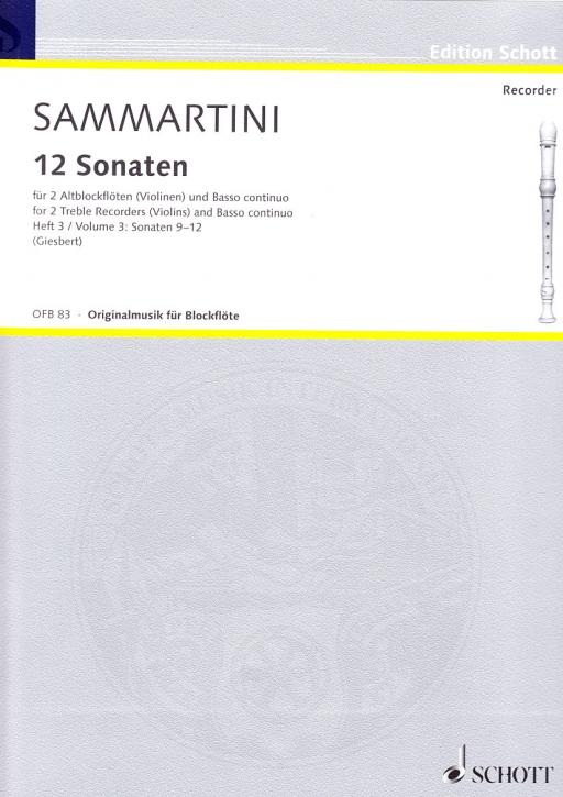 Sammartini, Giuseppe - Zwölf Sonaten Band 3 - 2 Altblockflöten und Bc.