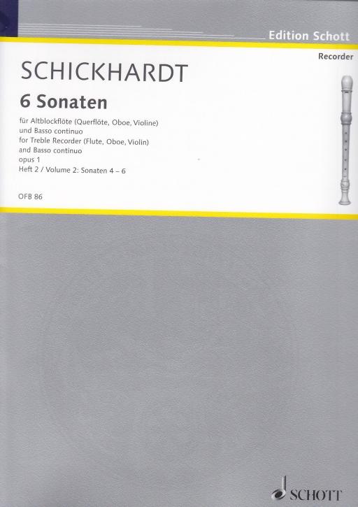 Schickhardt, Johann Christian - Sechs Sonaten Band 2 - Altblockflöte und Basso continuo
