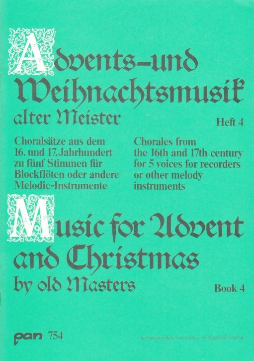 Advents-u. Weihnachtslieder alter Meister - Recorder Quartet  SSATB