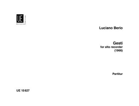 Berio, Luciano - Gesti - Altblockflöte solo