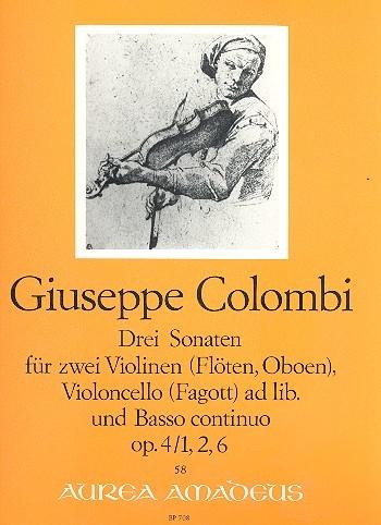 Colombi, Giuseppe - Drei Sonaten op. 4 - Blockflöte, Violine und Basso continuo