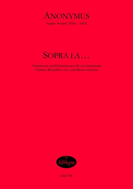 Anonymus, 16. Jahrh. - Sopra la... - soprano recorder and basso continuo