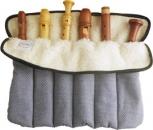 Flötenrolle mit sechs Fächern, Baumwolle, blau-weiße Karos<br><p><b>NEU !</b>