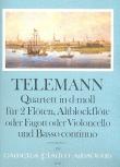 Telemann, Georg Philipp - Quartett d-moll  - Altblockflöte, 2 Querflöten und Bc.