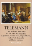 Telemann, Georg Philipp - Three times three menuets - treble or bass recorder, viola and Bc.