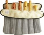 Flötenrolle mit sechs Fächern, Baumwolle, blau-weiße Streifen<br><br><b>NEU !</b>
