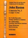 Baston, John - Concerto 3 G-dur - Altblockflöte und Basso continuo