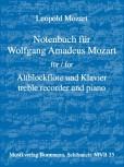 Mozart, Leopold - Notenbuch für Wolfgang Amadeus Mozart - Altblockflöte und Klavier