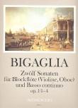 Bigaglia, Diogenio - Zwölf Sonaten  op. 1 Nr. 1-4 - Sopranblockflöte und Basso continuo