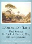 Sarri, Domenico - Drei Sonaten - Altblockflöte und Basso continuo